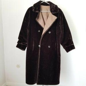 Brown Faux Fur Trench Coat Reversible Raincoat
